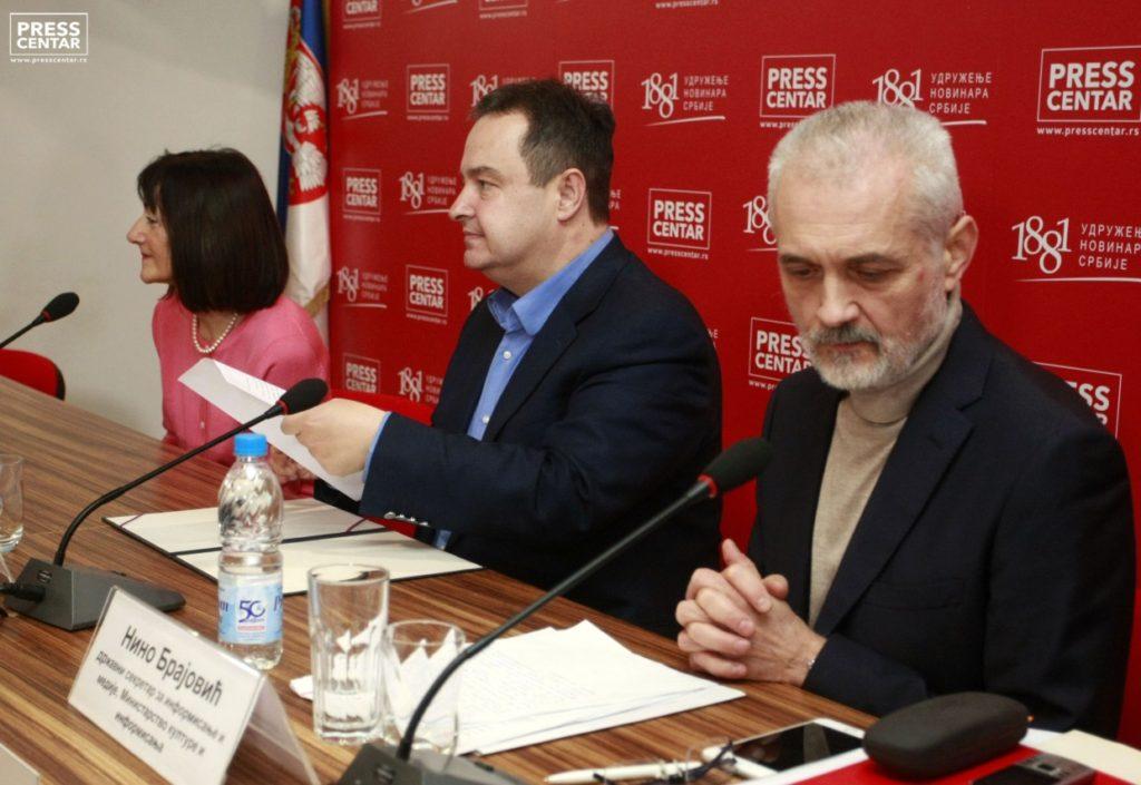 Љиљана Смајловић, Ивица Дачић, Нино Брајовић - фото: пресц центар УНС